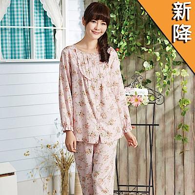華歌爾睡衣-仕女玫瑰花 M-LL 長袖睡衣褲裝(粉)舒適睡衣-柔膚手感