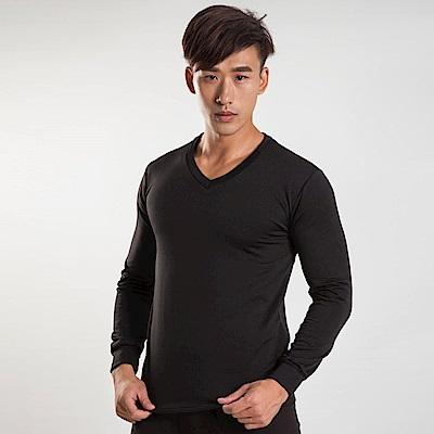 G+居家 男款束口刷毛暖暖衣-V領-黑色