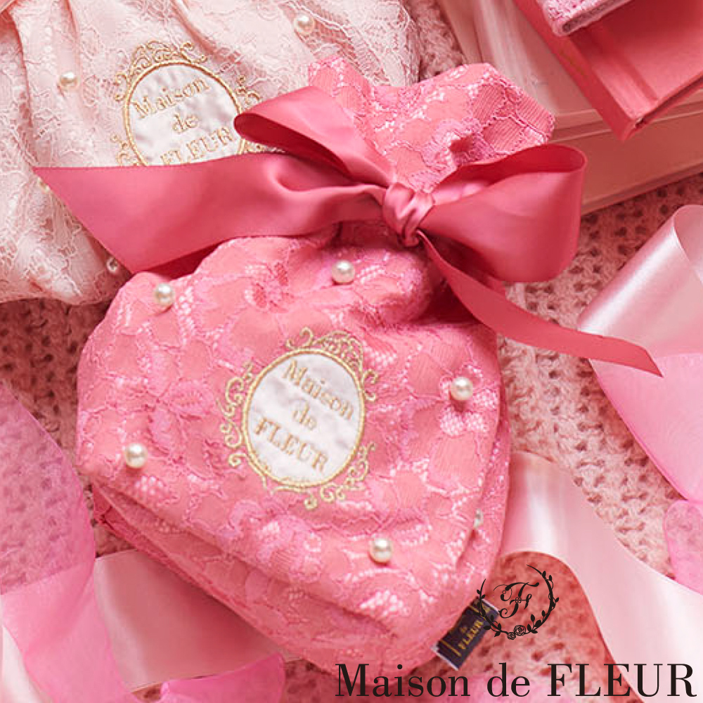 Maison de FLEUR 蕾絲珍珠蝴蝶結束口包