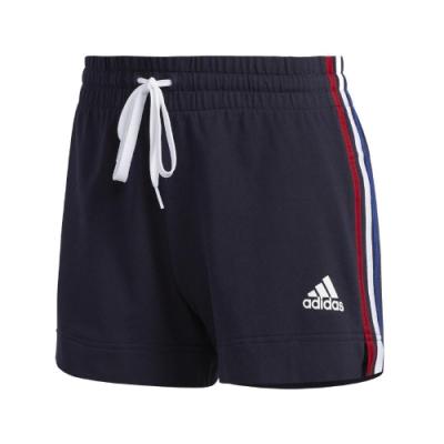 adidas 短褲 AM Shorts 運動休閒 女款 愛迪達 三線 基本款 慢跑 側開岔 藍 白 紅 GK3633