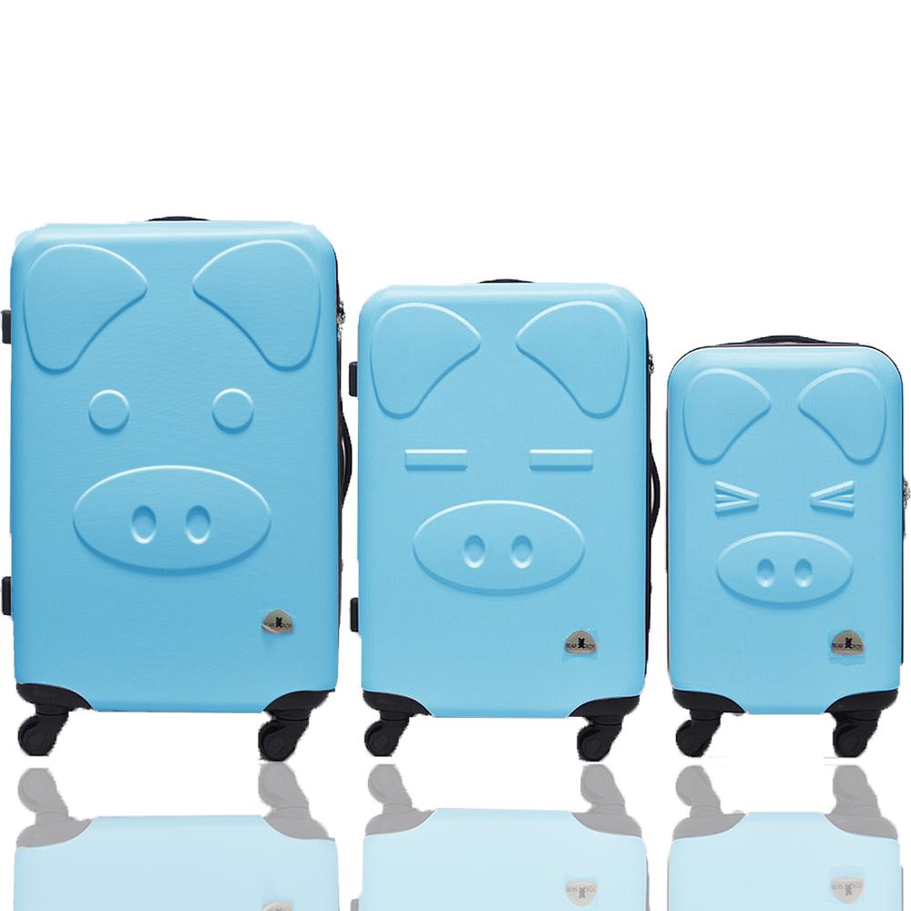 BEAR BOX 三隻小豬之豬事如意系列三件組28吋-24吋-20吋-輕硬殼行李箱-粉藍