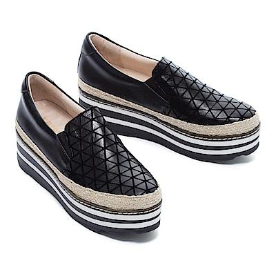休閒鞋 MELROSE 幾何魅力異材質拼接全真皮厚底休閒鞋-黑