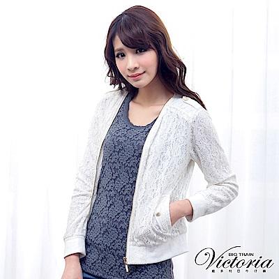 Victoria 無領蕾絲長袖外套-女-白