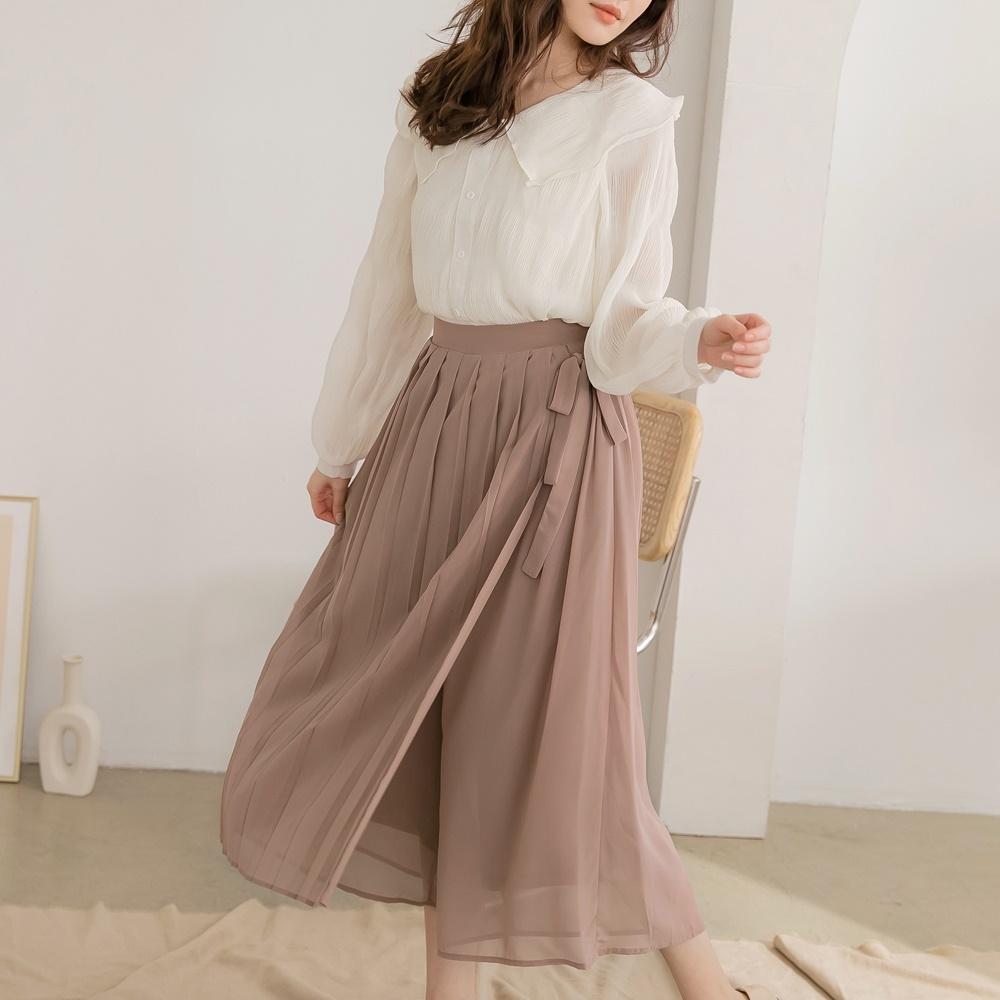 質感不易皺綁帶設計雪紡百褶寬褲褲裙-OB大尺碼