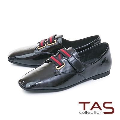 TAS寬版黑紅繫帶素面漆皮牛津鞋-時尚黑
