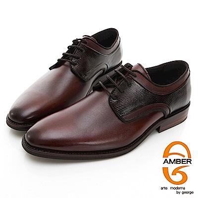 【AMBER】 尊爵時尚 葡萄牙進口綁帶十字紋拼接紳士皮鞋-棕色