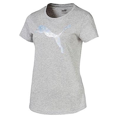 PUMA-女性基本系列大跳豹短袖T恤-淺麻花灰-歐規