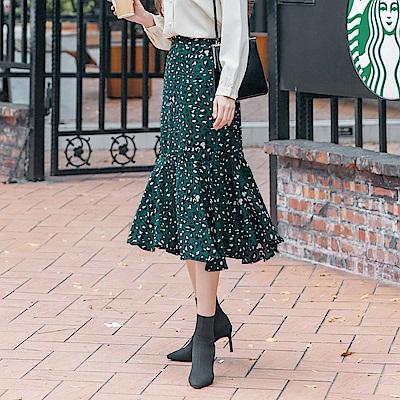 質感豹紋印花合身魚尾裙-OB大尺碼