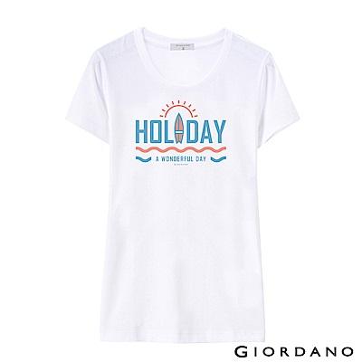 GIORDANO 女裝假期休閒印花T恤-53 標誌白