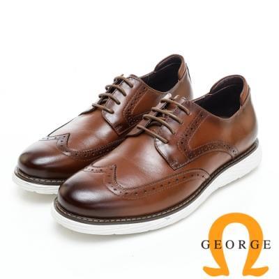 GEORGE 喬治皮鞋 輕量系列 經典漸層雕花綁帶厚底休閒鞋-棕色