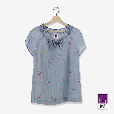 ILEY伊蕾 美人魚刺繡繫領條紋上衣(藍)