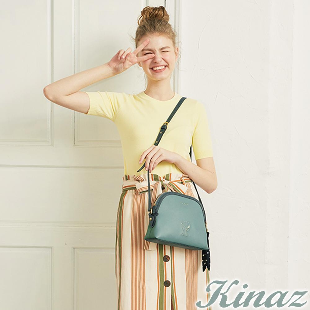 KINAZ x PEANUTS™ 無憂雲朵斜背貝殼包-薄荷糖綠-勇敢愛系列
