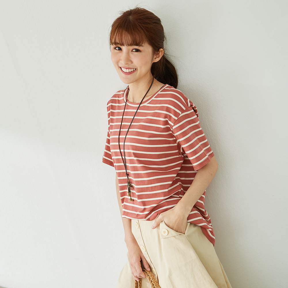慢 生活 色織條紋柔棉短T- 紅條/黃條