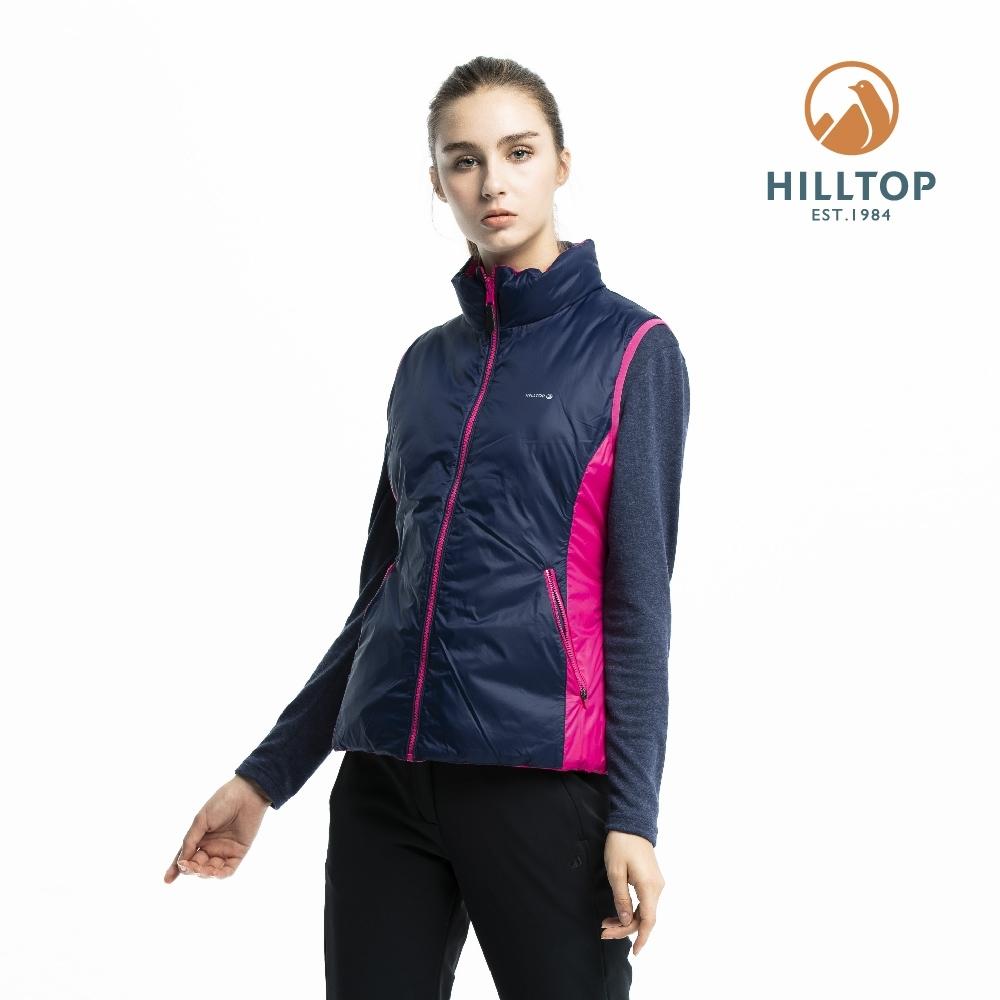 【hilltop山頂鳥】女款超潑水保暖蓄熱羽絨雙面穿背心F25FG8粉紅