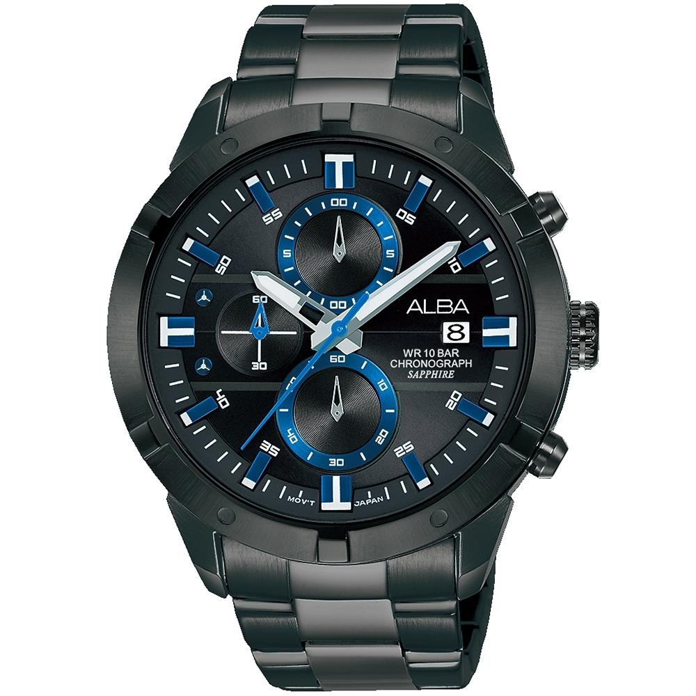 ALBA雅柏 街頭時尚三眼計時手錶(AM3751X1)-黑x藍/44mm