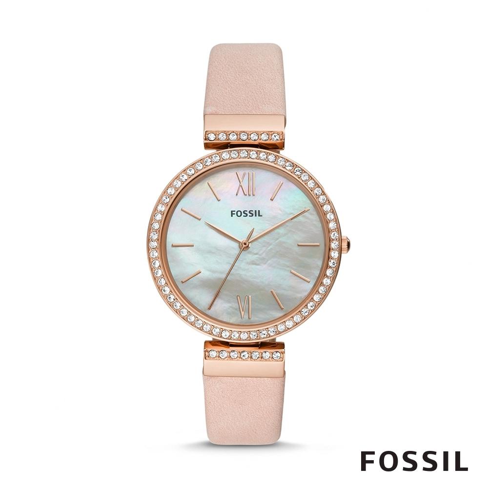 FOSSIL MADELINE 粉色珍珠貝面鑲鑽女錶 38mm ES4537