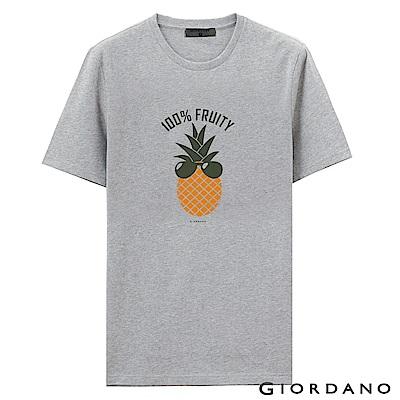 GIORDANO 男裝假期休閒印花T恤-47 中花灰