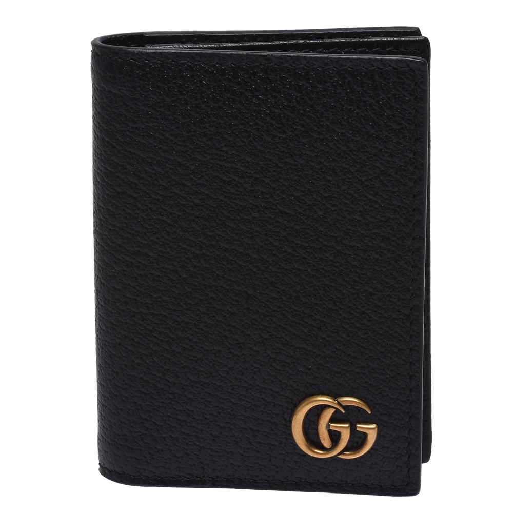 GUCCI GG Marmont復古金屬GG LOGO壓紋牛皮折疊信用卡/名片夾(黑)