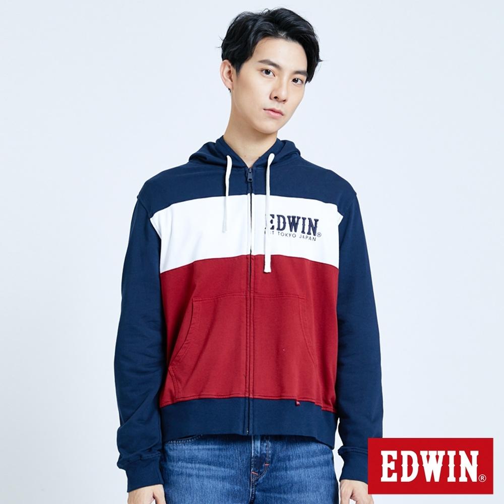 EDWIN 復古運動 配色剪接連帽外套-男-丈青