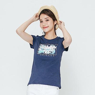 Hang Ten - 女裝 - 有機棉 繽紛印圖印字TEE-藍色