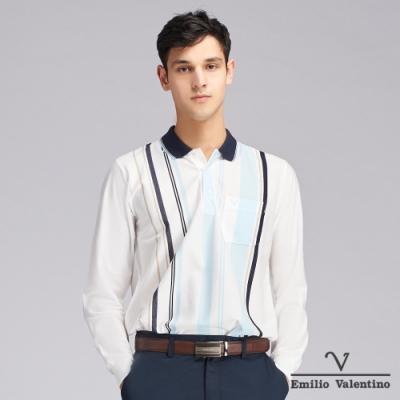 Emilio Valentino范倫鐵諾質感細緻直條POLO衫_米白(66-9V2155)