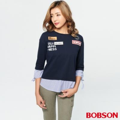 BOBSON 女款貼布條紋拼接假兩件式上衣