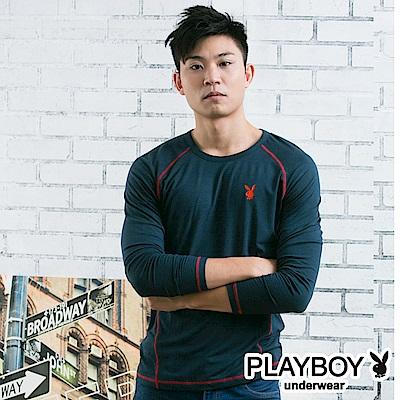 PLAYBOY極限運動型男發熱保暖衣-丈青底紅線