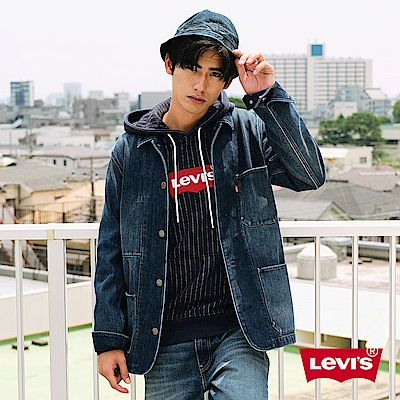 Levis 男款 復古工程師牛仔外套 Fleece機能保暖 中長版