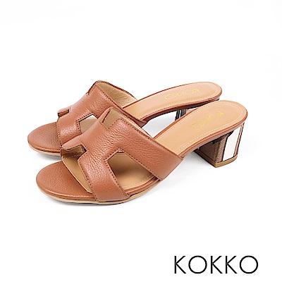 KOKKO - 浮華世界H形彩畫粗跟真皮拖鞋 - 瑪瑙棕