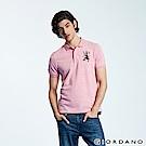GIORDANO 男裝勝利獅王漸層刺繡彈力萊卡POLO衫-45 雪花粉紅