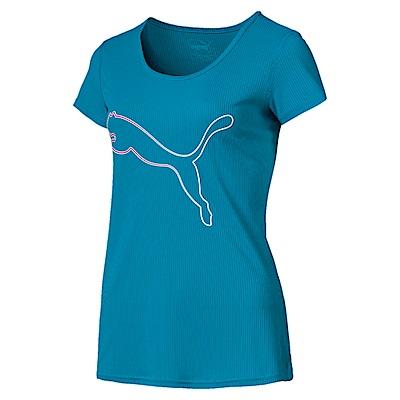 PUMA-女性慢跑系列經典Logo短袖T恤-加勒比海藍-歐規