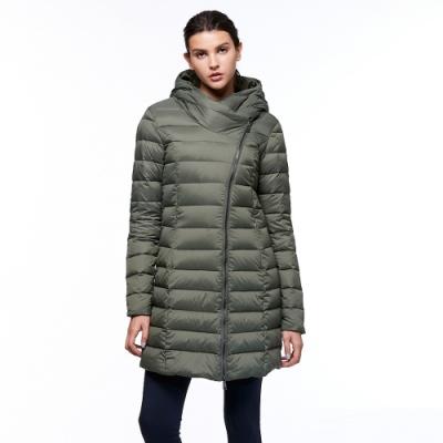 【HAKERS 哈克士】女 防潑水羽絨長版外套(灰橄綠)