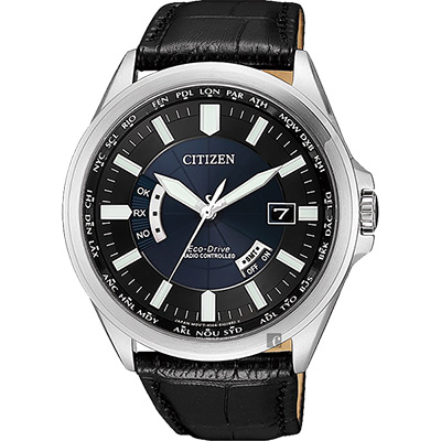CITIZEN 星辰 光動能萬年曆電波錶-藍x黑皮帶/43mm