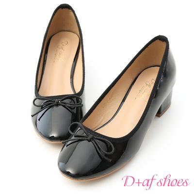 D+AF 優雅焦點.漆皮低跟芭蕾娃娃鞋*黑