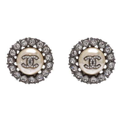 CHANEL 經典雙C LOGOG水鑽排列鑲飾圓形造型穿式耳環(銀)