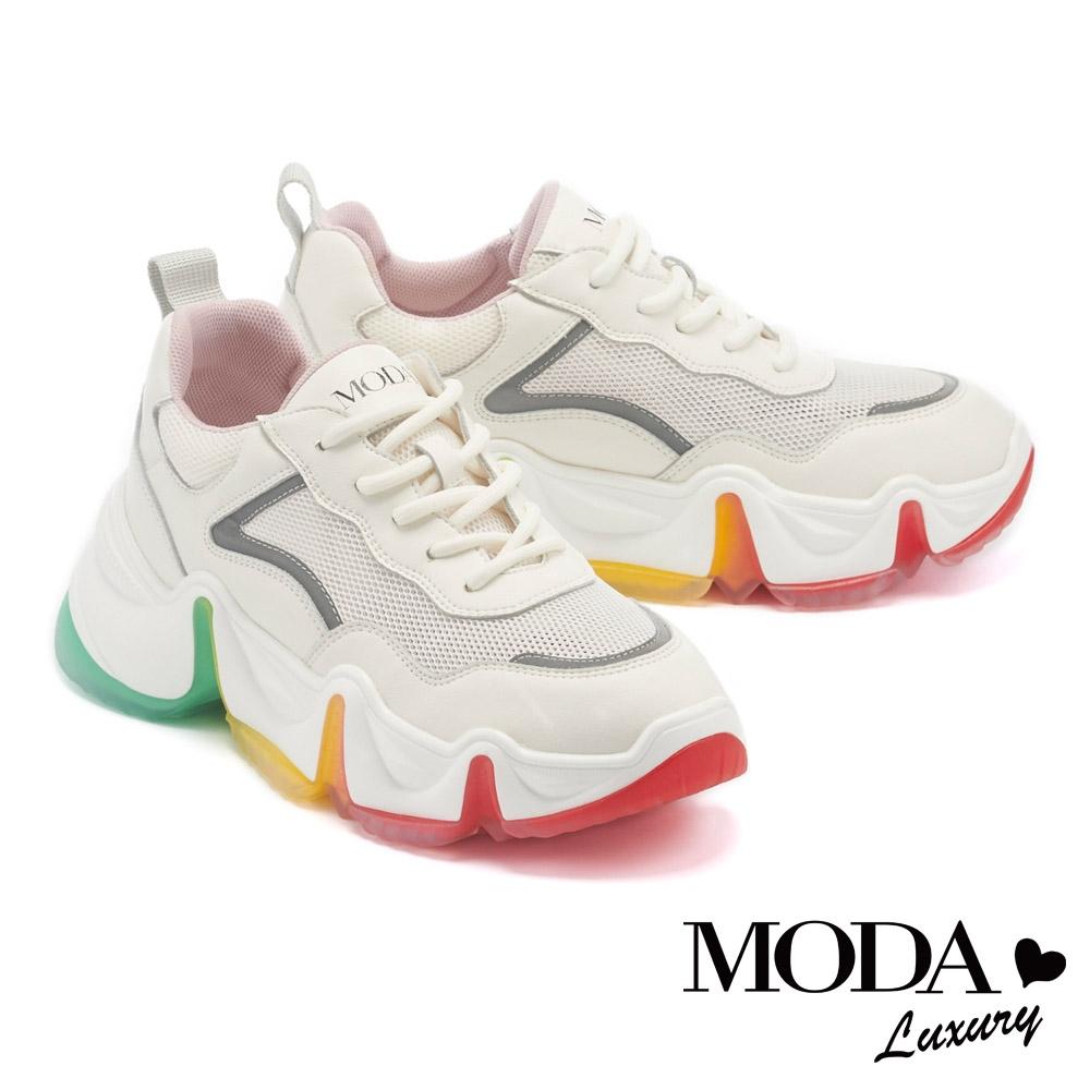 休閒鞋 MODA Luxury 夢幻潮感彩虹鋸齒厚底綁帶休閒鞋-白