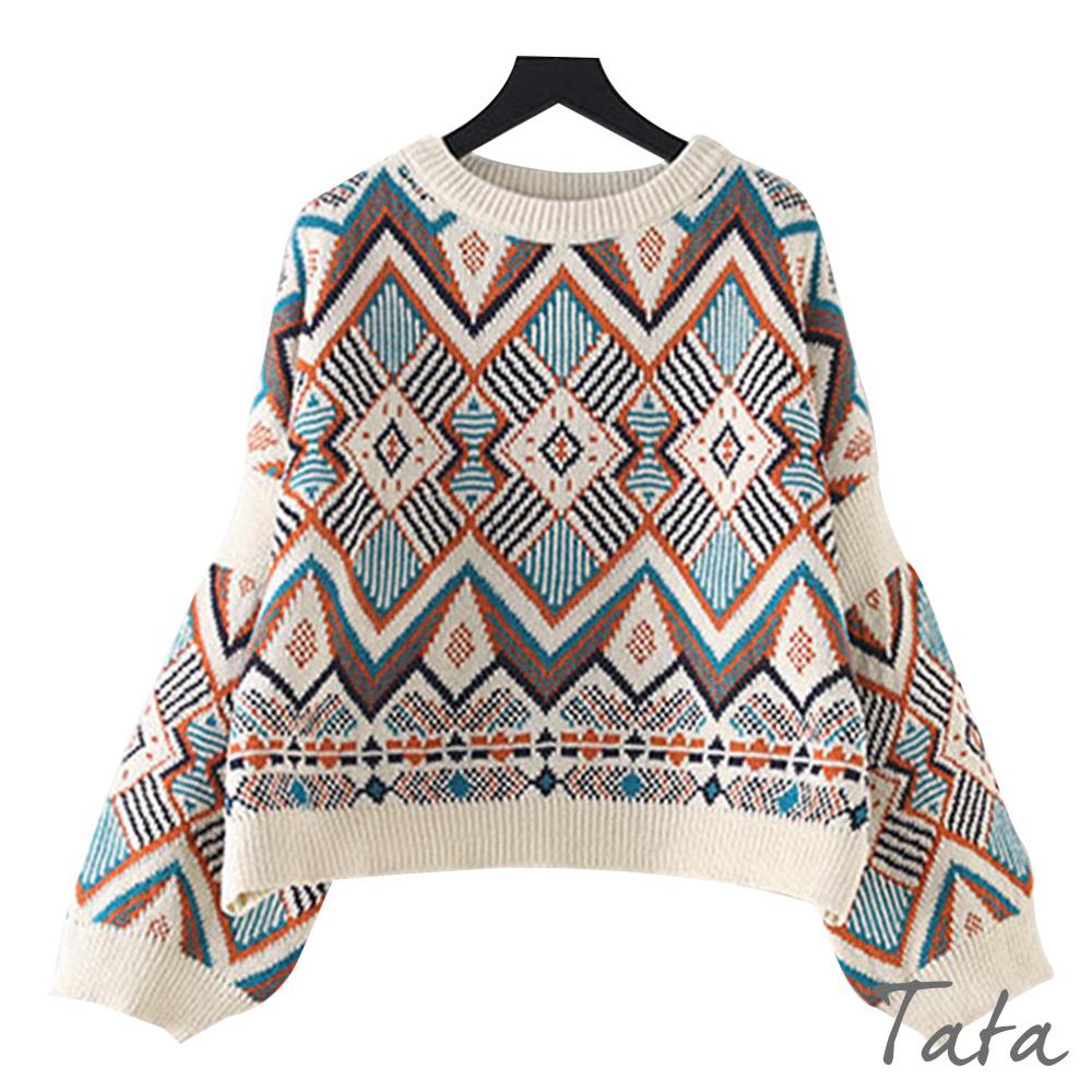 圖騰針織上衣 共二色 TATA
