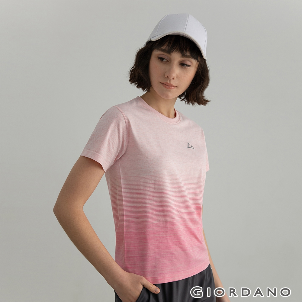 GIORDANO 女裝G-MOTION無縫涼感短袖T恤 - 37 雪花粉