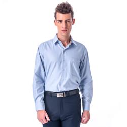金‧安德森 經典格紋繞領藍色厚棉長袖襯衫