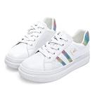 PLAYBOY 條紋亮蔥厚底休閒鞋-白彩