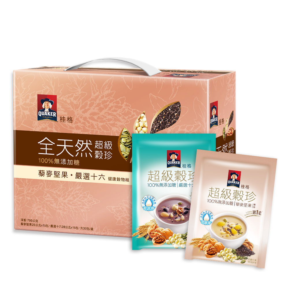 桂格 全天然超級穀珍禮盒-16穀與藜麥(30入/盒)
