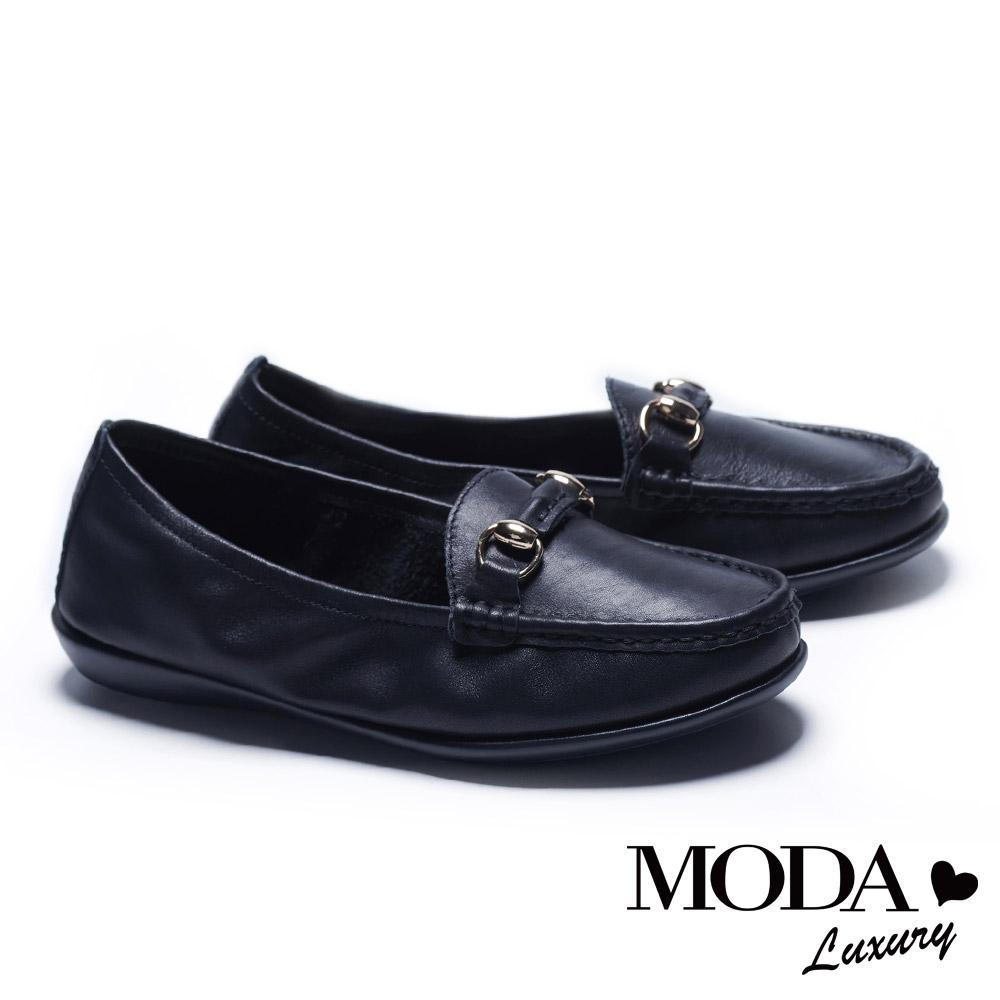 休閒鞋 MODA Luxury 簡約百搭馬銜釦全真皮莫卡辛厚底休閒鞋-黑