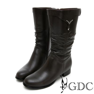 GDC-真皮抓皺水滴扣經典素色基本秋冬中筒靴-咖色