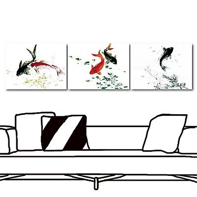 橙品油畫布 三聯式 無框畫掛畫-鯉魚戲水40x30cm