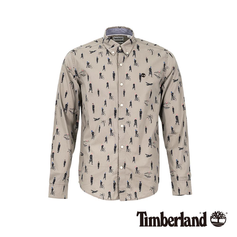 Timberland 男款象灰色旅行印花印花府綢修身長袖襯衫|A1WQ3
