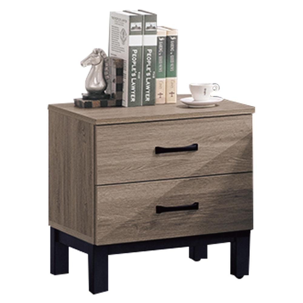 綠活居 普菲現代風1.6尺二抽床頭櫃/收納櫃-46.5x41x50cm免組