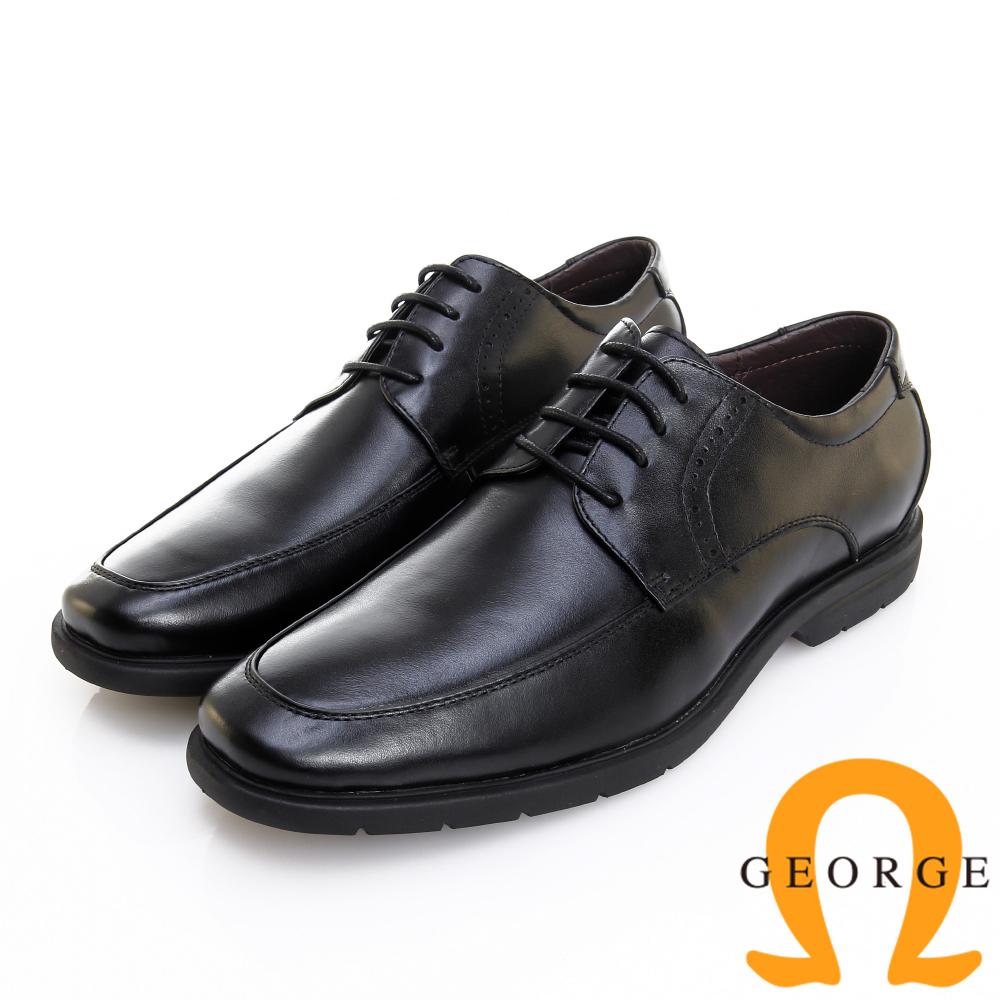 GEORGE 喬治皮鞋 輕彈系列 超輕量繫帶柔軟真皮紳士鞋-黑色