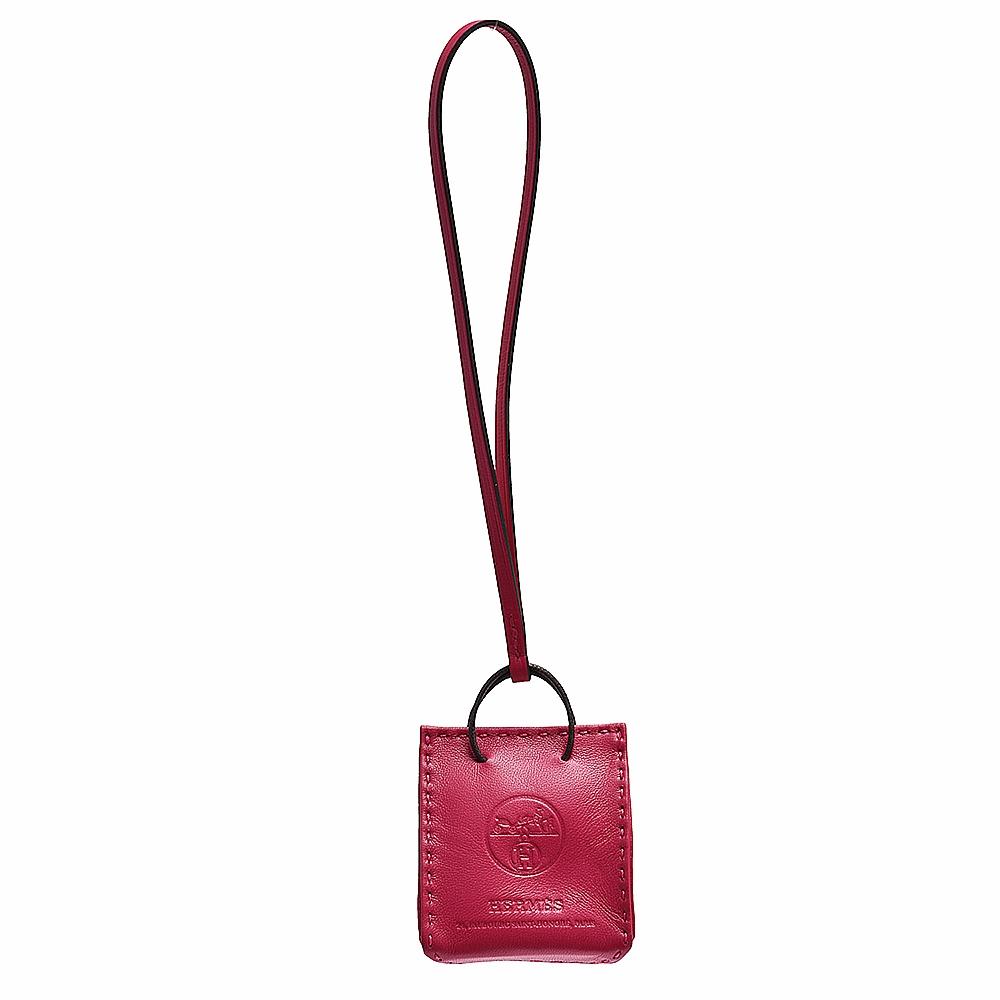 HERMES 經典品牌LOGO小羊皮手袋吊飾/掛飾(桃紅色)