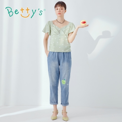 betty's貝蒂思 青蘋果繡線牛仔男友褲(淺藍)