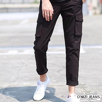 onizi多口袋微彈休閒褲-男-黑